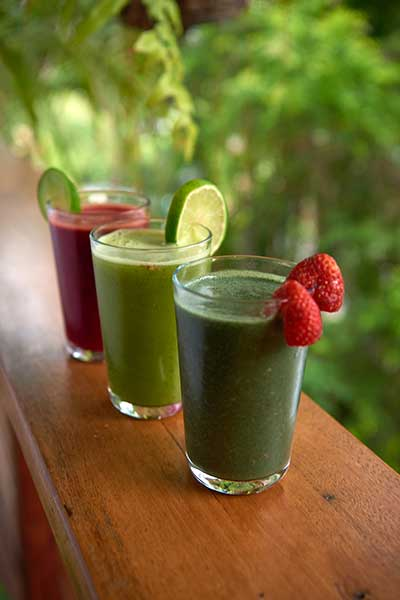 Three glasses of healthy green juice